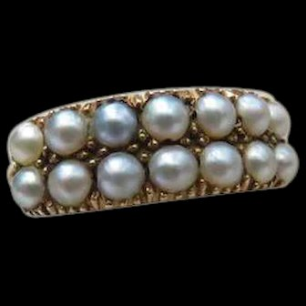 *Celestial Array* Double Half Band Pearl 18k Gold Ring