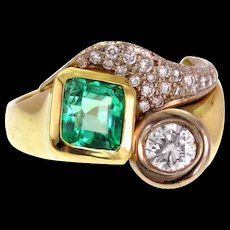 *Emerald City* Emerald and Diamond 18k Gold Ring with GIA Report