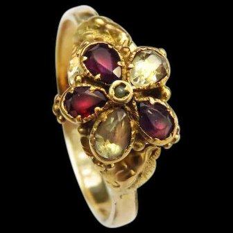 *Forget Me Not* Amethyst Chrysoberyl Garnet Ring in 14k Gold