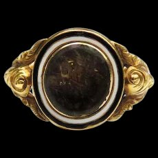 *Infinite Embrace* Antique Woven Hair and Enamel Mourning Ring in 18k Gold