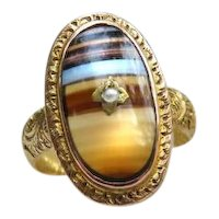 *Parallel Planes* Banded Agate 9k English Victorian Gold Ring