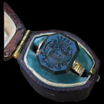 *Forest's Guardian* Bloodstone Signet Articulated Swivel Georgian 14k Gold Ring c.1810