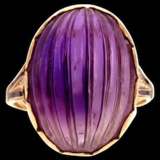*Mystic Treasure* Amethyst Hand-Carved 14k Gold Victorian Ring