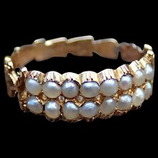Pearl Double Row Half Band in 18k Gold