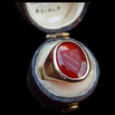 Carnelian Signet Shield Ring in 14k Gold