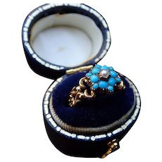 Turquoise and Pearl 12k Gold Openwork Victorian Ring