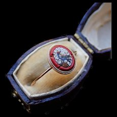 Napoleonic Micromosaic Rooster 15k Gold Ring c.1810