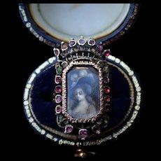 Portrait Demantoid Amethyst Silver 18k Gold French Georgian Ring