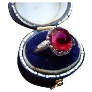 Pink Tourmaline Cabochon Platinum Ring