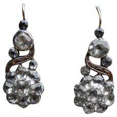 Georgian Foiled Paste Sterling Silver 9k Rose Gold Earrings