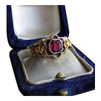 Garnet and Black Enamel 18K Gold Victorian Ring c.1874