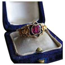 Garnet and Black Enamel 18K Gold Victorian Ring c.1874