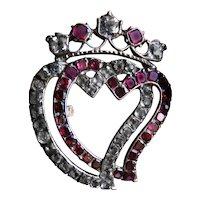 Garnet and Paste Silver Heart Crown Georgian Brooch