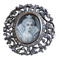 Early 1900s Queen Elizabeth I Portrait Paste 9k Gold and Silver Brooch