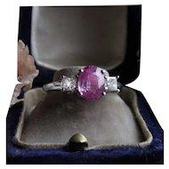 Pink Sapphire Diamond Ring 18k White Gold