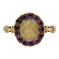 Hair Amethyst Enamel Mourning Ring 15k Gold c.1761