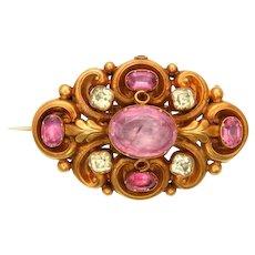 Pink and Green Quartz 15k Gold Ornamental Brooch