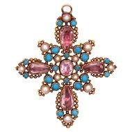07342457862cc Pink and Green Quartz 15k Gold Ornamental Brooch : Lady Lovelie's ...