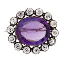 Amethyst Paste 12k Gold Brooch with Paste Diamond Halo