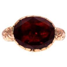 Foiled Flat-Cut Garnet Conversion Ring in 10k Gold