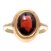 Buff-Top Garnet Conversion Ring in Rose and 14k Yellow Gold