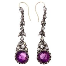 Amethyst and Diamond Paste Silver Drop Earrings