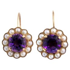 Amethyst and Pearl 15k Gold Earrings Hallmarked 1990