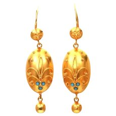 Turquoise Milgrain Relief Etruscan Revival 15k Gold Earrings