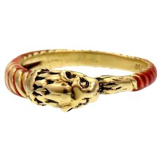 Lion's Head Red Enamel 18k Gold Band