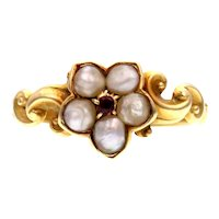 Garnet and Pearl 18k Gold Flower Ring