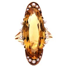 Long Oval Citrine and Pearl 14k Gold Ring