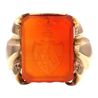 Carved Intaglio Crest Carnelian Ring in 10ct Yellow Gold