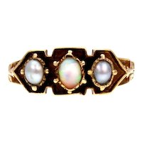 Opal and Pearl 18k Gold Intaglio Ring