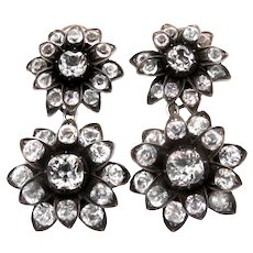 Paste Flower Silver Conversion Earrings Late 1800s