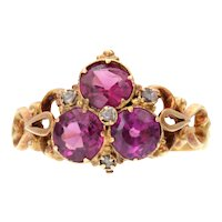 Pink Garnet Trio and Diamond 18k Gold Openwork Ring