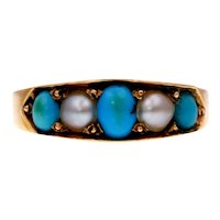 Round Pearl and Turquoise Pave-Set 15k Gold Ring