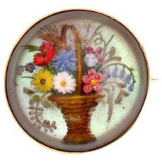 Flower Vase Painted Reverse Intaglio Glass Brooch 18k Gold