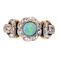 Opal and Diamond White and Yellow 18k Gold Conversion Ring