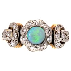 Opal and Diamond White and Yellow 18k Gold Art Deco Ring