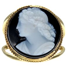 Banded Agate Portrait Cameo 18k Gold Conversion Ring