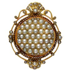 19th Century Pearl Front Face Ornamental Brooch in 18k Gold