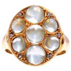 Victorian Cabochon Moonstone 15k Gold Ring