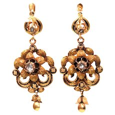 14k Gold Diamond and Black Enamel Victorian Earrings in Original Box