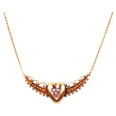 15k Gold Crescent and Heart Diamond Conversion Necklace with Cable Chain