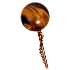 Spherical Tiger's Eye Cravat Pin