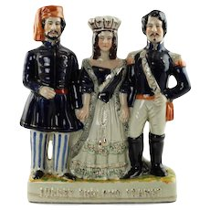Antique Staffordshire Military Figural Group Featuring Crimean War Allies