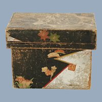 Vintage Japanese Taisho Period Papered Wood Foil Lined Tea Box Tea Caddy Art Deco