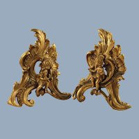 Antique French Rococo Gilt Bronze and Cast Iron Chenet Andirons with Figural Putti