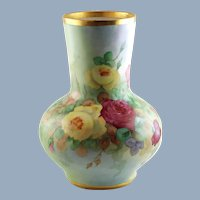 "Large 15.75"" Antique William Guerin & Co Limoges Porcelain Vase with Hand Painted Roses"