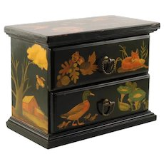 Vintage 2 Drawer Miniature Chest with Decoupage Decoration and Fabric Lining
